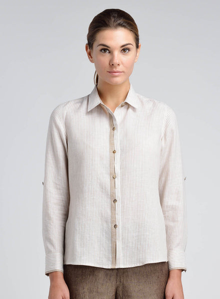 Pointed collar linen shirt with long sleeves