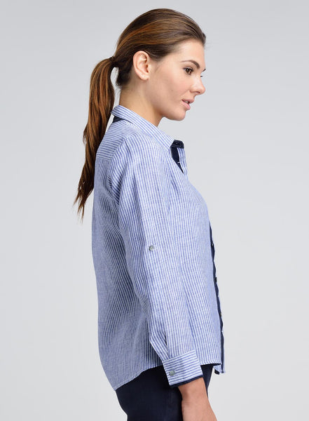 Linen Contrast Placket Collar Shirt