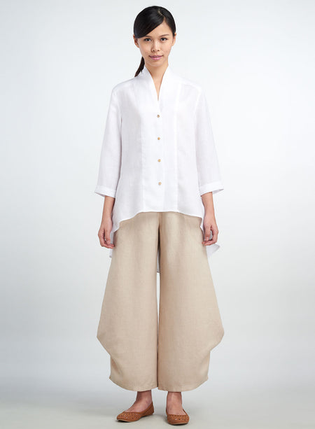 Linen Pin-tucks Button Front Shirt