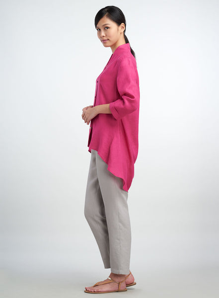 High-low hem three quarter sleeve linen top