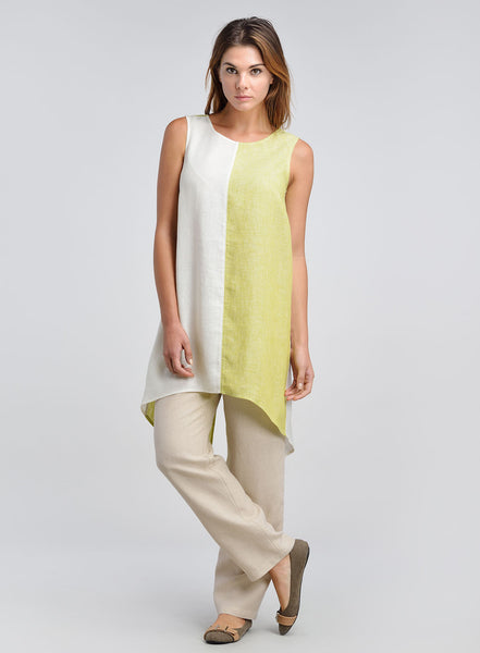 Two tone color linen long tunic