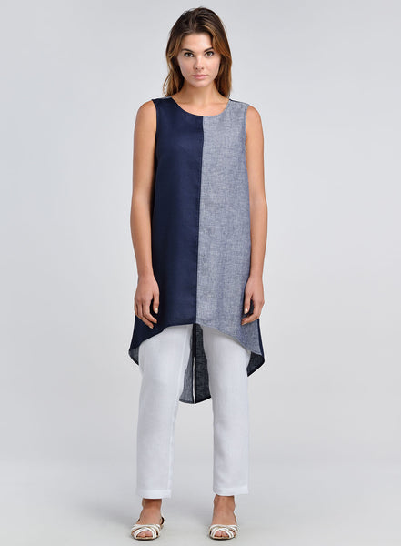 Linen Button Back Opening Color Block Sleeveless Tunic