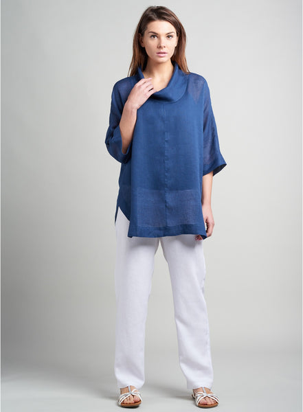 Navy blue linen fashion online