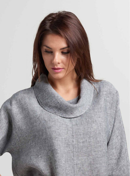 Cowl neck linen top with easy fit design