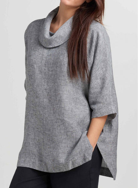 linen cowl neck top