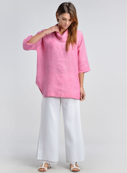 Cowl neck linen top with flared leg pants