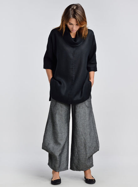 Black linen outfit with elbow sleeve design