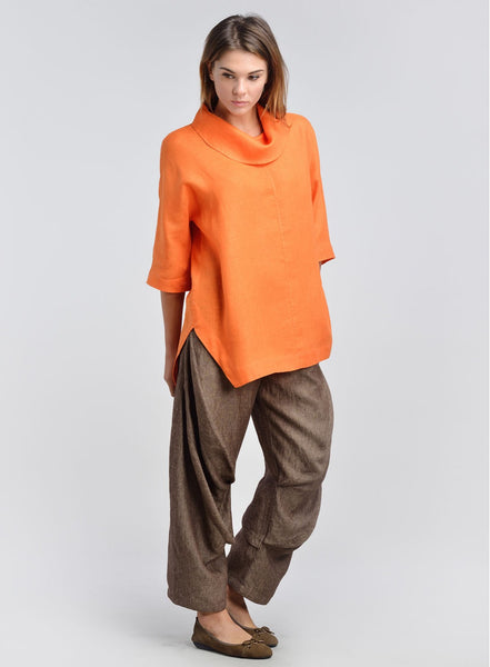 Linen Cowl Neck Raglan Sleeves Top