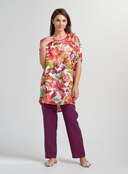 Floral printed linen long tunic