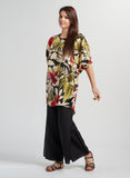 Mid-sleeve Saria Linen Color Combo Floral Top