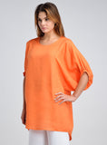 Linen round neck bat sleeves long tunic