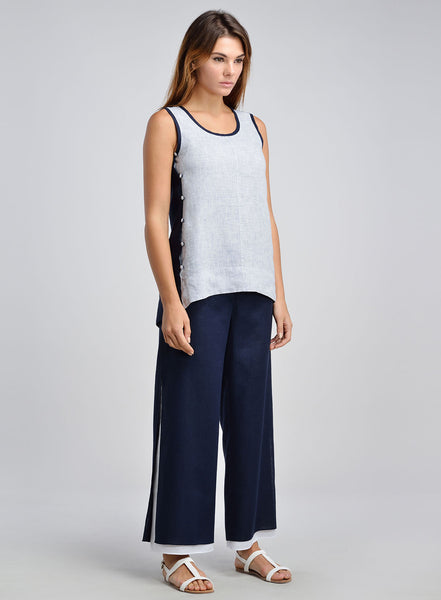 Linen Color Block Scooped Neck Tank