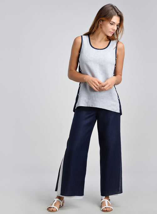 Color blocking linen camisole