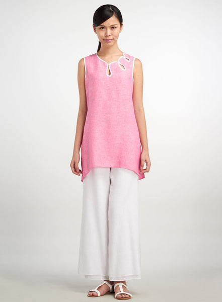 Linen sleeveless tunic with Chinese details