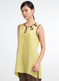 Sleeveless linen tunic in linen fabric