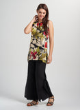 Floral printed sleeveless tunic in feminine silhouette