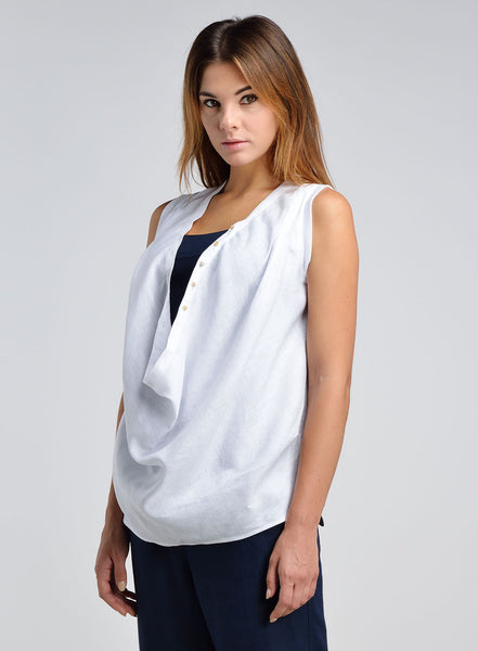 Linen Draped Front Sleeveless Top