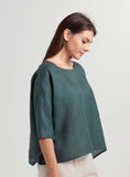 Scooped neck linen boxy top
