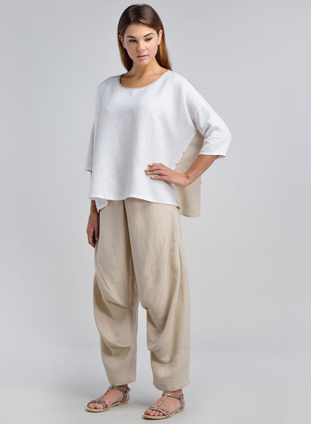 Linen Pleated Slip-on Top