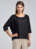 Loose fitting black linen top