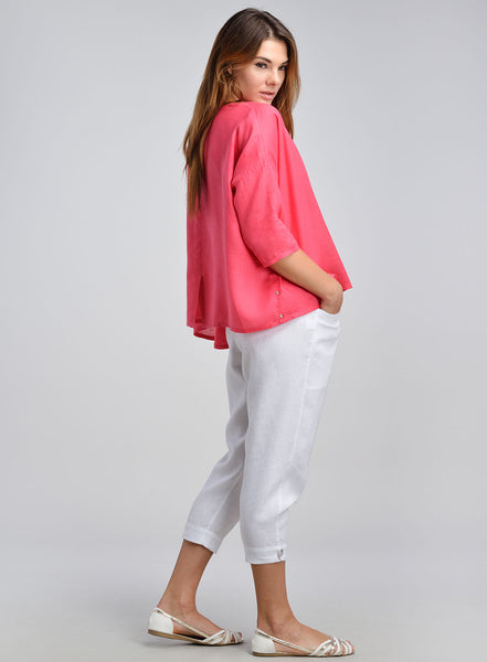 Linen drop shoulders top