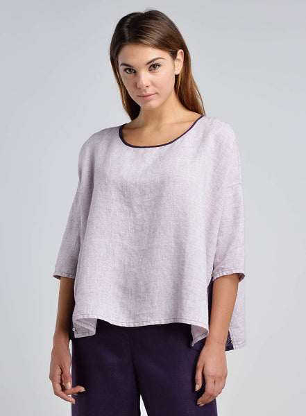 Linen Contrast Panel Boxy Top