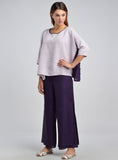 Linen contrast color loose fitting top