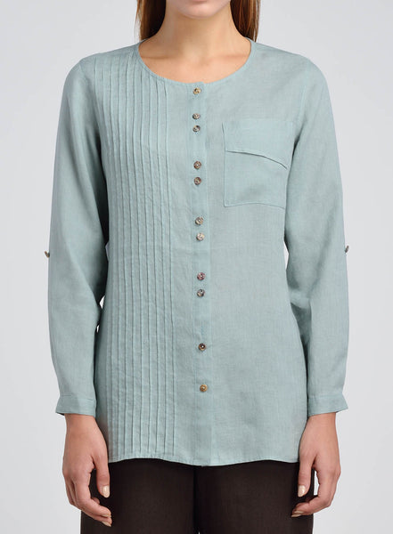 Pin-tuck workmanship linen blouse