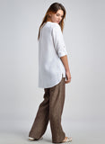Linen Long Sleeves Scooped Neck Tunic