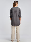High-low cut hemline linen tunic