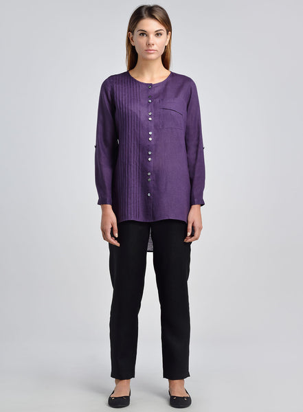Scooped neck long sleeves linen top