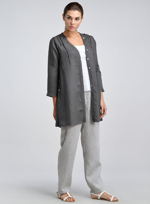 V-neck open front linen duster