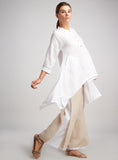 Flowy and sophisticated look white linen tunic