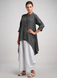 Raglan sleeves with drop shoulders fine linen tunic
