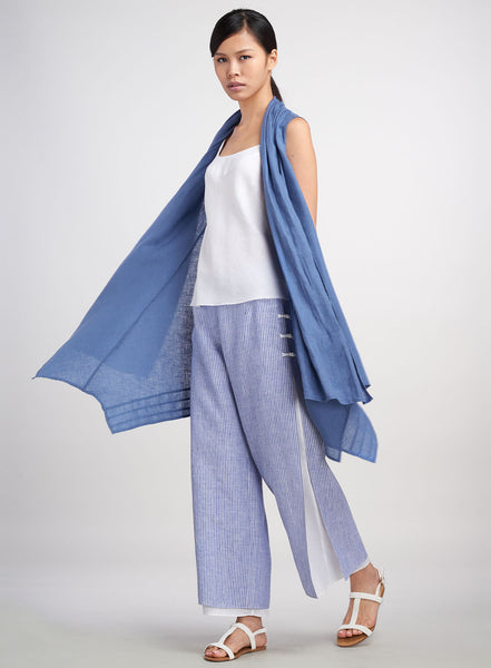 Linen Scarf Layers Sleeveless Long Vest