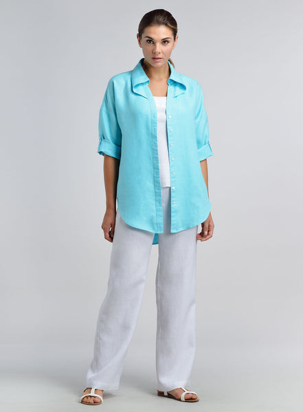 Special cut collar shirt with three quarter sleeve