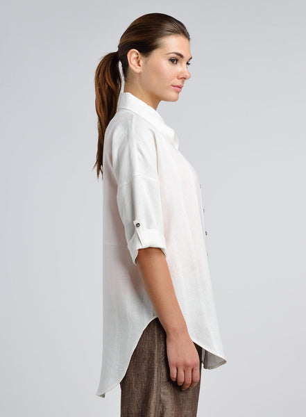 Linen Three Dimensional Collar Casual Shirt