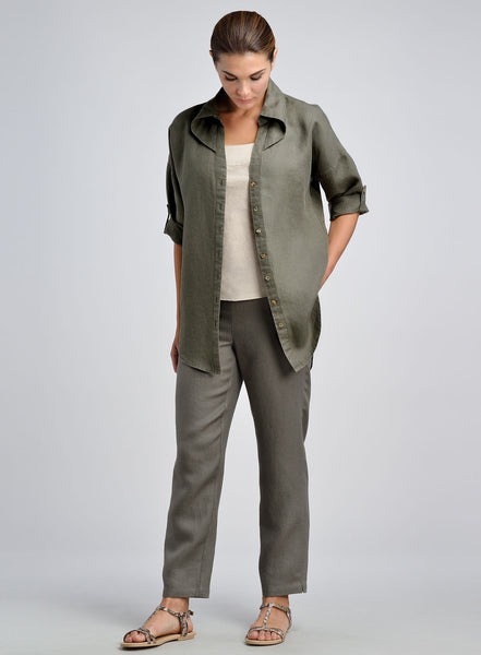 Army green open front jacket