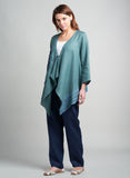 Linen Patch Details Asymmetric Hemline Jacket