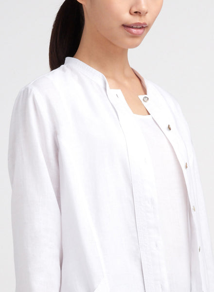 Folded collar white linen top with open front