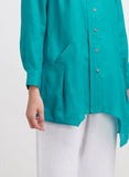 Irregular hem with pocket and long sleeve linen top