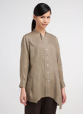 Linen Half Fold Collar Asymmetrical Long Top