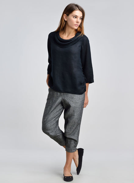 Women black linen top