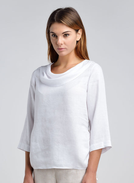 Linen Bib Neck Top