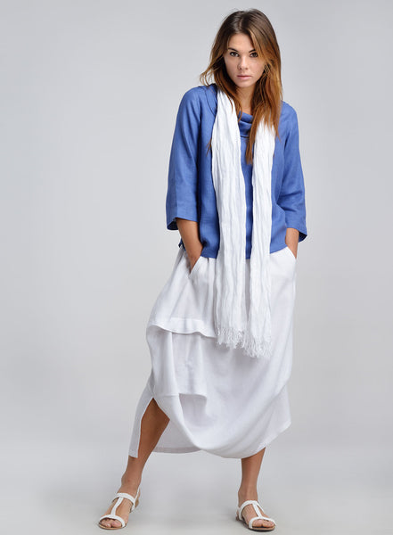 Blue and white linen outfit