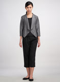 two-tone-black linen cropped jacket
