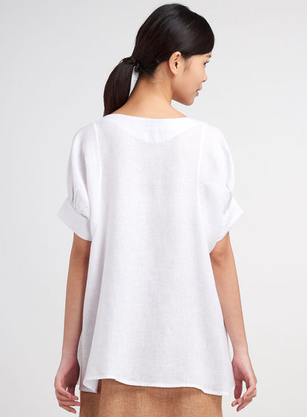 Linen Bubble Sleeve Casual Top