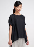 Boat neck short sleeves linen blouse in black color