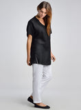 Black linen tunic with drop shoulders