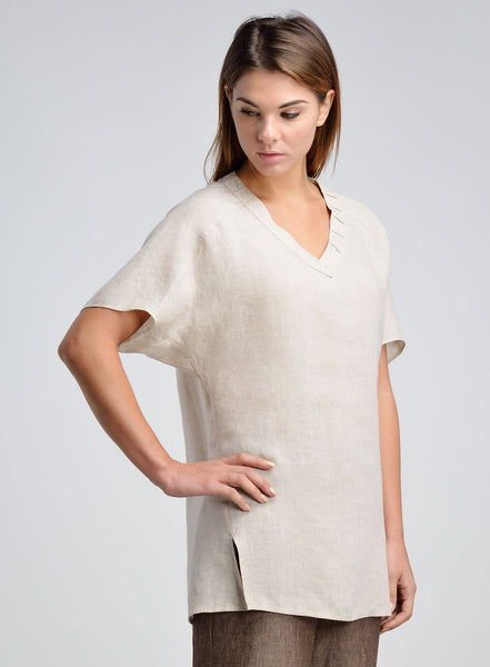 Raglan sleeves linen tunic in beige color